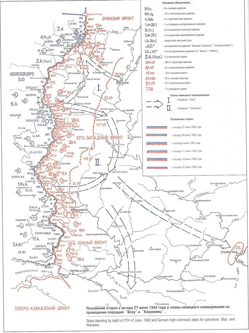 Положение сторон к вечеру 27 июня 1942 года и планы немецкого командования на проведение операции «Блау» и «Клаузевиц»