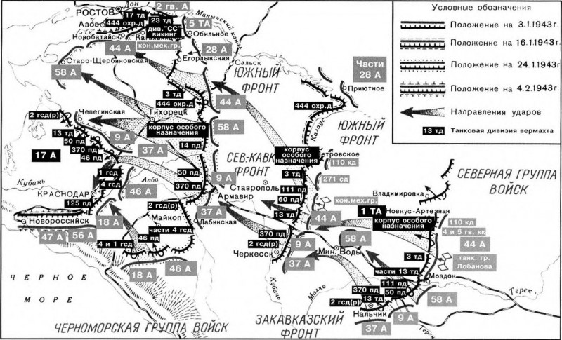 Схема. Наступление Северной группы войск
