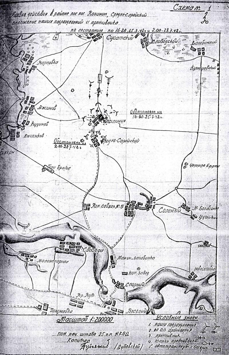 Схема боевых действий 25 пп 25-28 июля 1942