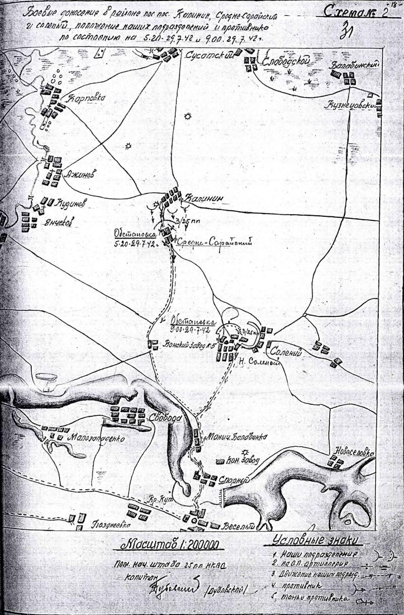 Схема боевых действий 25 пп 29 июля 1942