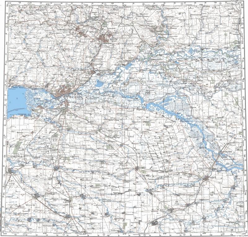 L-37-Б Современная карта Ростовской области 1:500000