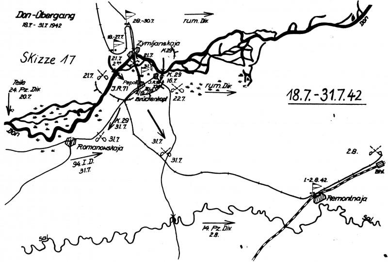 Схема действий 29мпд на Цимлянском плацдарме