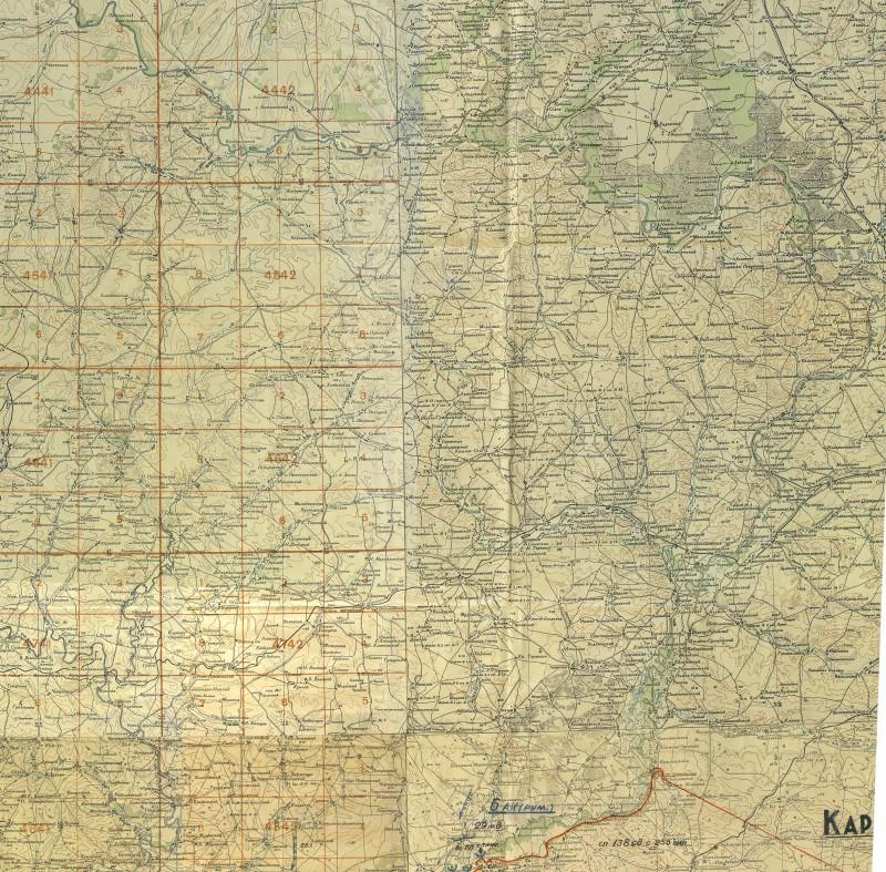 Карта большой излучины Дона(М1:500000-42г. фрагмент)