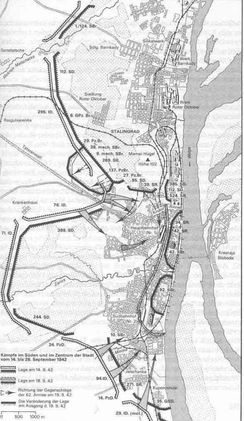 Схема Бои за Сталинград 14-16 сентября 42г.