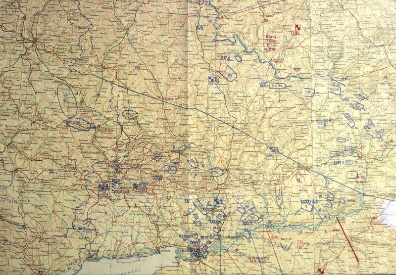 Фрагмент немецкой карты положения на фронте к исходу 25 июля 1942 года (М1:1000000)