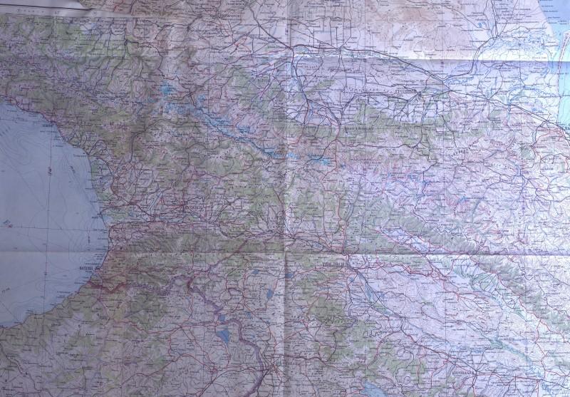 Главный Кавказский хребет на карте Генерального штаба (М1:1000000)