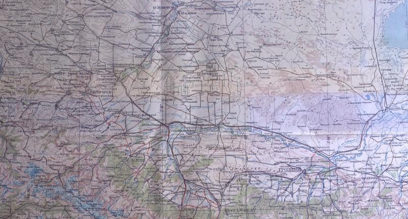 Район действий Северной группы войск на карте Генерального штаба (М1:1000000)