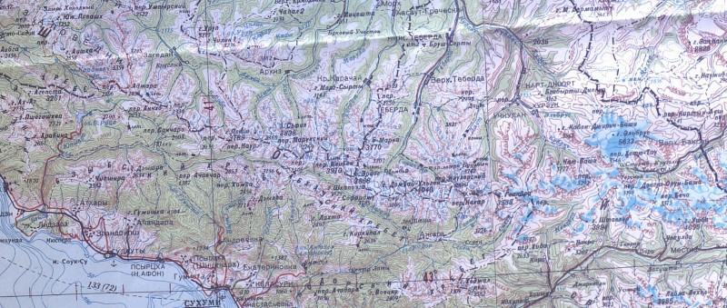 Центральная часть Главного Кавказского хребта на карте ГШ