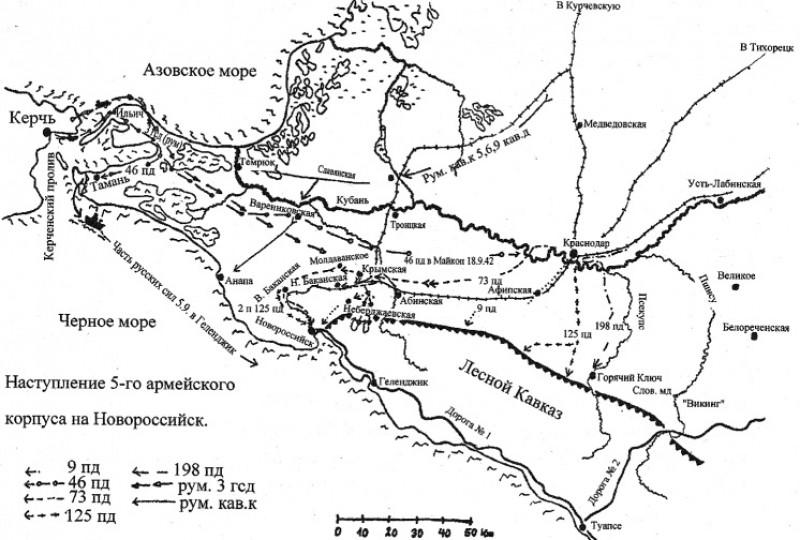Схема Тике. Наступление 5АК на Новороссийск