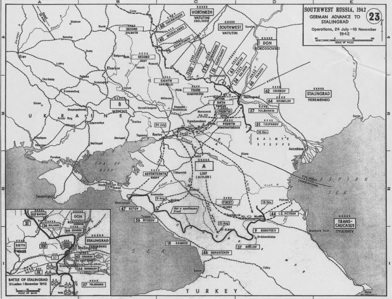 Линия фронта на 18 ноября 1942
