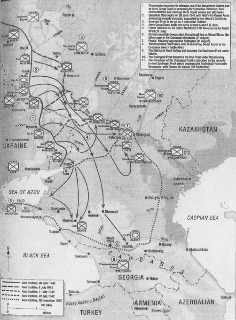 Рубежи достигнутые немцами на юге в 1942