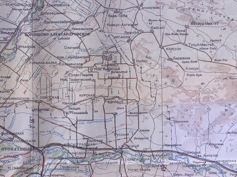 Район боевых действий севернее Терека